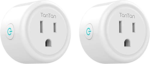 Smart Plug Work with Alexa and Google Home, TanTan WiFi Outlet Mini Socket Remote Control Only Supports 2.4GHz Network, ETL and FCC Listed 2 Packs Renewed