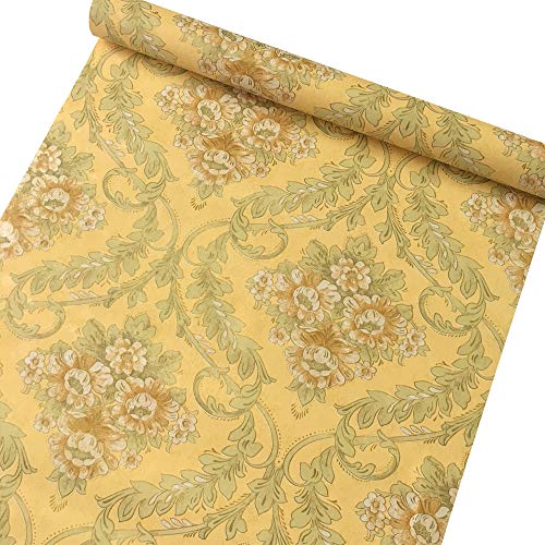 SimpleLife4U Yellow Damask Self-Adhesive Shelf Drawer Liner Moisture Proof PVC Contact Paper 45x300cm (Victorian Contact Paper)