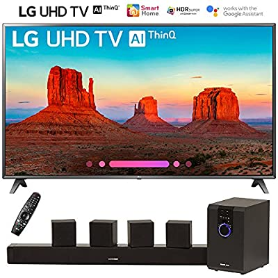 """LG 75UK6570PUB 75"""" Class 4K HDR Smart LED AI UHD TV w/ThinQ (2018 Model) with Sharper Image 5.1 Home Theater System w/Subwoofer, Sound Bar & Satellite Speakers"""
