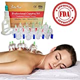 Chinese Acupuncture Cupping Therapy Sets-FDA Approved-Guaranteed 5-yr Life of Professional Medical Grade 14 Cups for Body Cupping Massage with Vacuum Suction Pump, 31' Extension Tube, English Manual