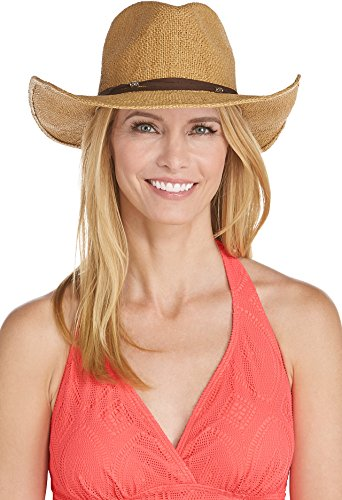 Fully Lined Suede Cap (Coolibar UPF 50+ Women's Cowboy Hat - Sun Protective (One Size- Toast))