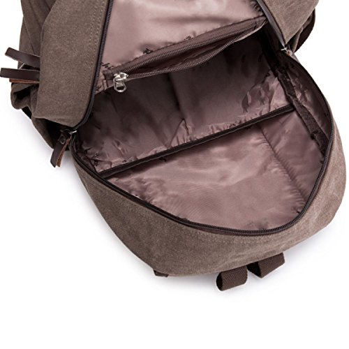 Laidaye Business Travel Backpack Leisure Canvas Capacity Multi purpose Brown Large vHTPpnv