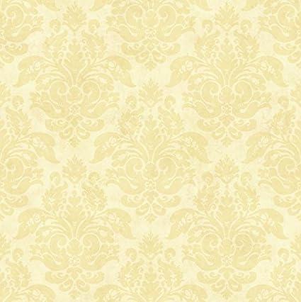 Chesapeake CG77723 Isabelle Sand Floral Damask Wallpaper Yellow