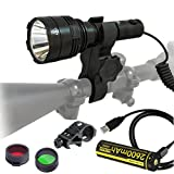 Nitecore P30 1000 Lumens 676 Yards Red and Green Rechargeable Hunting Light with Lumentac Rifle Mounting Kit for Hog Coyote and Varmint Hunting