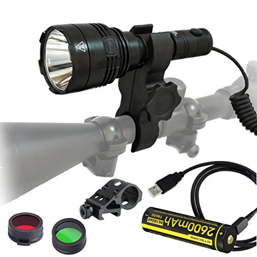 Nitecore P30 1000 Lumens 676 Yards Red and Green Rechargeable Hunting Light with Lumentac Rifle Mounting Kit for Hog Coyote and Varmint Hunting by Nitecore