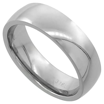Amazoncom Surgical Steel Plain Wedding Band Thumb Ring 6mm Domed