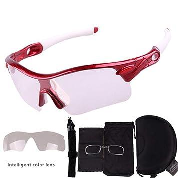 38e169c3d9 APJJ Gafas de Sol fotocromáticas Ciclismo Motocicleta, Gafas de Sol  montadas en Color Lentes de Cambio ...