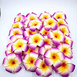 dw245fes 30pcs 7cm DIY Artificial Silk Plumeria Egg Flower Heads for Shoes Straw Hat Decor (Purple) 84