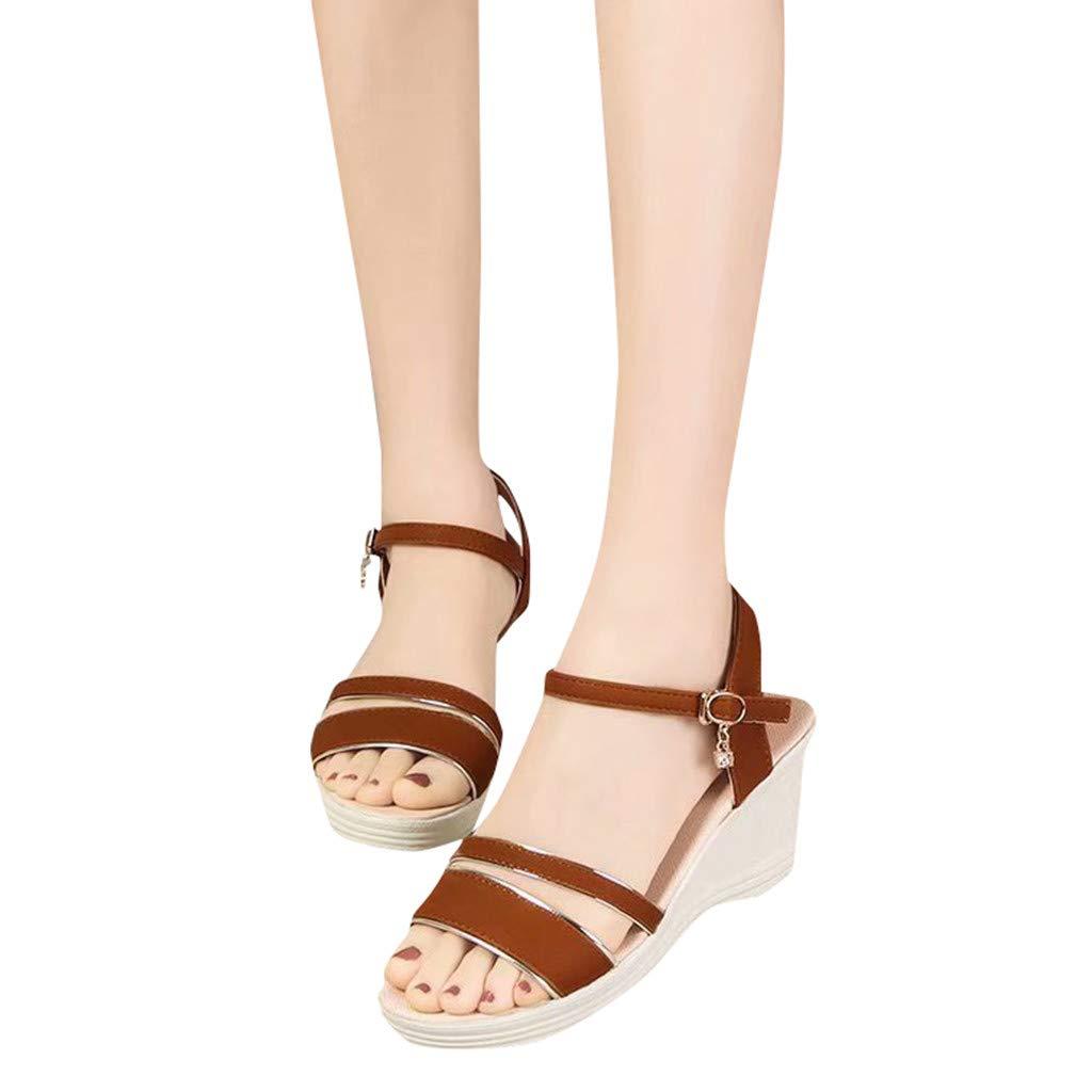 Veodhekai Women High Heel Platform Sandals Rhinestone Peep Toe Breathable Roman Sandals Buckle Strap Wedge Heel Sandals Brown