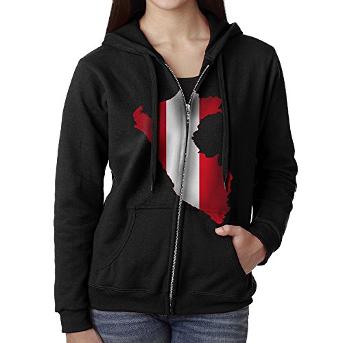 SHIRT-4 Peru Flag Map Casual Womens Zipper Pocket Hooded Sweashirt