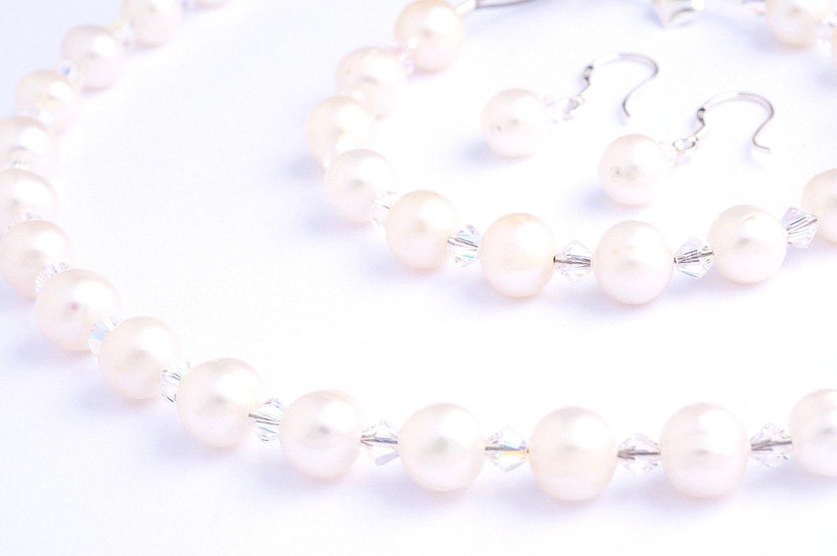 Perla de Marfil y cristal de Swarovski colgante, pendientes y pulsera conjunto