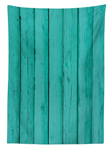 Lunarable Mint Outdoor Tablecloth, Old Wood Rustic Oak Plank Background with Vertical Striped Vivid Woods Farm Barn Image, Decorative Washable Picnic Table Cloth, 58 X 120 inches, Sea Green by Lunarable (Image #1)