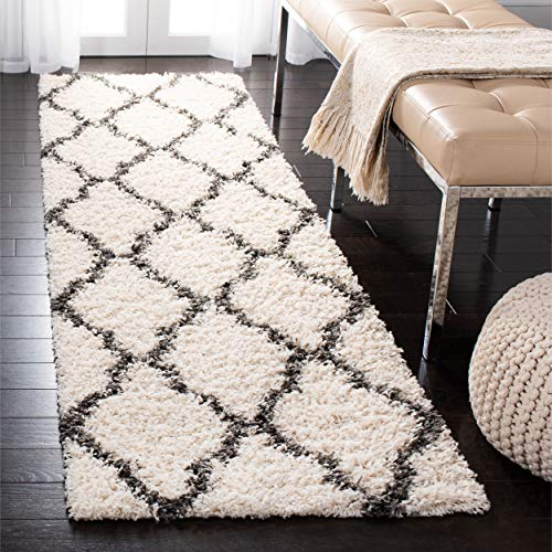 "Safavieh Dallas Shag Collection SGD257H Ivory and Dark Grey Runner (2'3"" x 8') from Safavieh"
