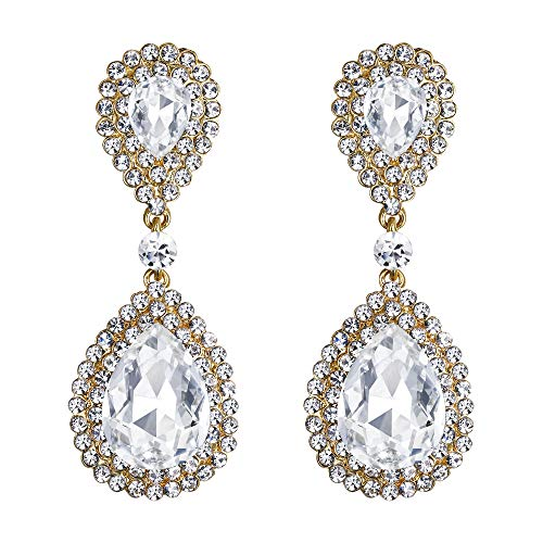 BriLove Wedding Bridal Dangle Earrings for Women Fashion Crystal Teardrop Infinity Earrings Clear Gold-Toned