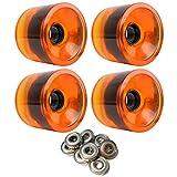 LONGBOARD CRUISER WHEELS 72mm x 56mm 83A 021C Orange Clear ABEC 7 BEARINGS