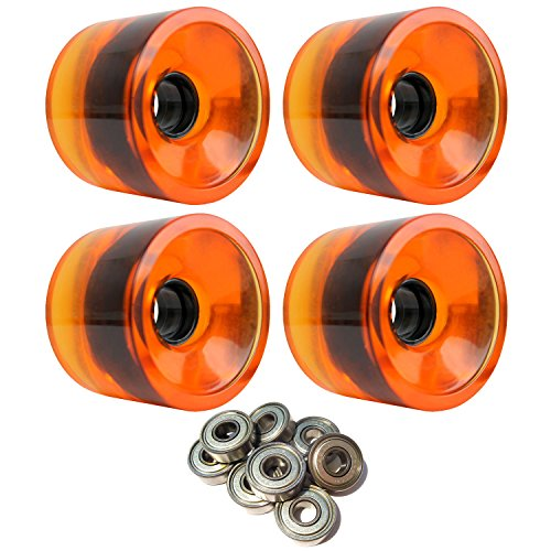 LONGBOARD CRUISER WHEELS 72mm x 56mm 83A 021C Orange Clear ABEC 7 BEARINGS by TGM Skateboards