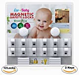 Image of Baby & Child Proof Cabinet & Drawers Magnetic Safety Locks Set of 12 with 2 Keys By Eco-Baby - Heavy Duty Locking System with 3M Adhesive Tape Easy To Install Without Damaging Your Furniture