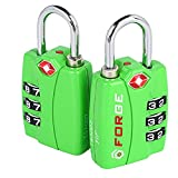 Forge TSA Locks 2 Pack Green - Open Alert Indicator, Easy Read Dials, Alloy Body