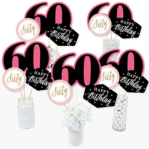 Chic 60th Birthday - Pink, Black and Gold - Birthday Party Centerpiece Sticks - Table Toppers - Set of 15 ()