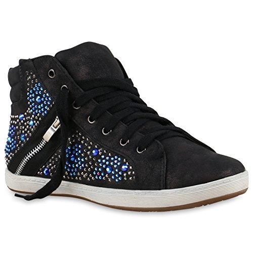 Stiefelparadies - Zapatillas Mujer negro azul