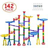 Meland Marble Run Sets for Kids - 142 Complete Pieces Marble Tracks Marble Game STEM Building Toy Gift for 4 5 6 + Year Old Boys Girls(105 Pieces + 32 DIY Marbles Pieces + 5 Glass Marbles)