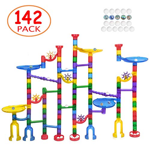 Marble Run Sets for Kids - 142 Complete Pieces Marble Tracks Marble Maze Game STEM Building Toy Gift for 4 5 6 + Year Old Boys Girls(105 Pieces + 32 DIY Marbles Pieces + 5 Glass Marbles) -