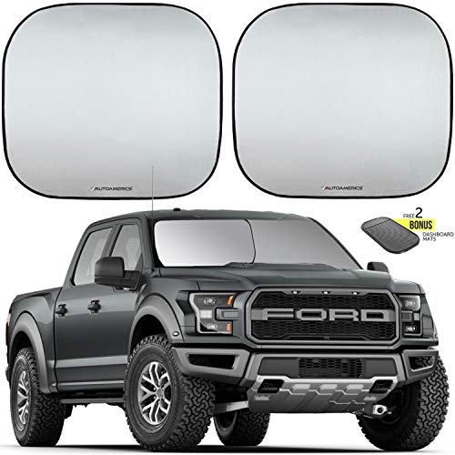 Autoamerics Windshield Sun Shade 2-Piece Foldable Car Front Window Sunshade for Full Size SUV Truck Tesla - Auto Sun Blocker Visor Protector Blocks Max UV Rays and Keeps Your Vehicle Cool - (X-Large)