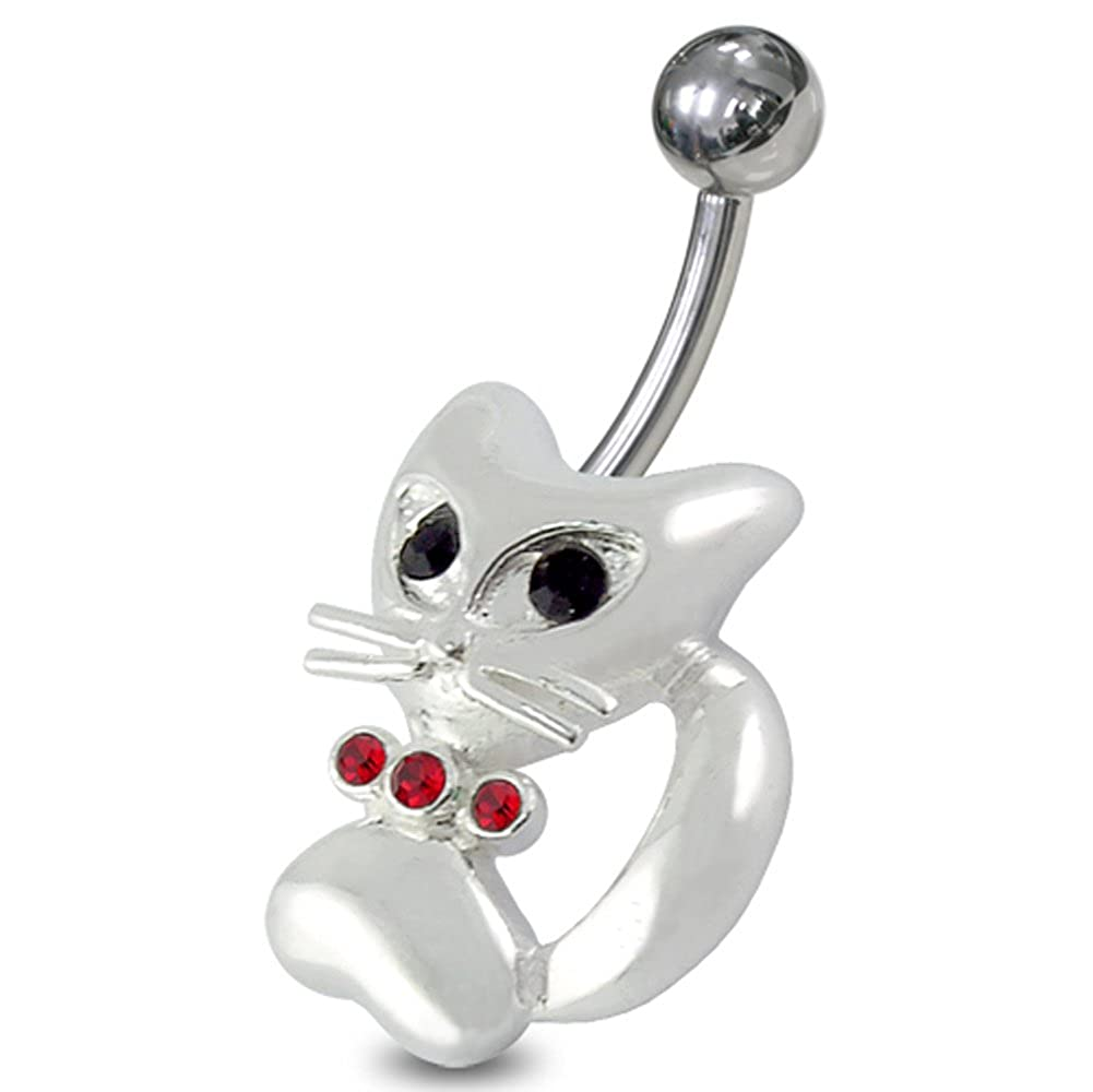 Lovely Cat 925 Sterling Silver with Stainless Steel Belly Button Navel Rings