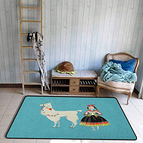 - Bedroom Rug,Llama Peruvian Woman Knitting with a White Alpaca Wrapped with Flower Colorful Illustration,Anti-Static, Water-Repellent Rugs,3'3