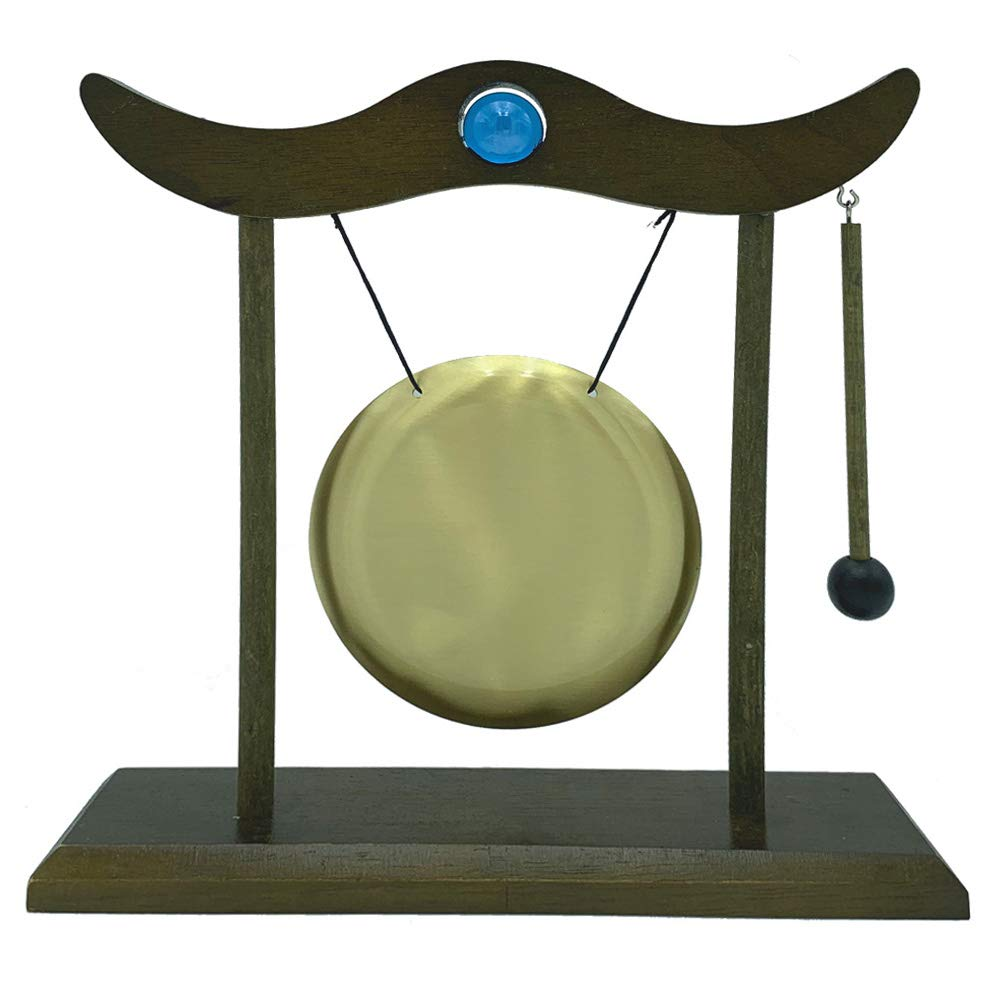 Desk Gong Desktop Stand Feng Shui Brass Zen Art for Fortune with beautiful Crystal ball,Chimes WCBHG Hanging Gong