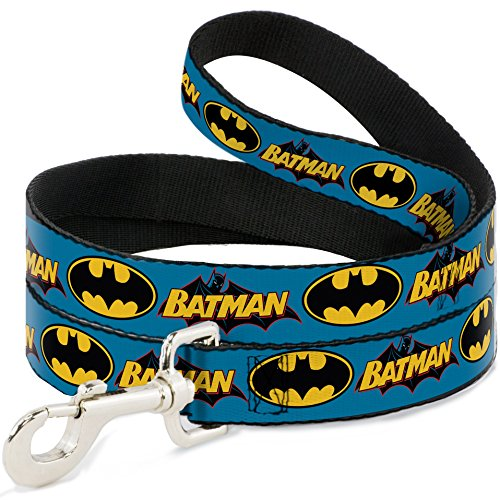 Buckle Down Dog Leash Vintage Batman Logo Bat Signal Blue 6 Feet Long 1.0 Inch Wide