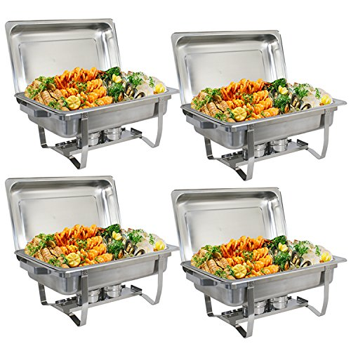 ZenChef Upgraded 8 Qt Stainless Steel Chafer, Full Size Chafer, Chafing Dish w/Water Pan, Food Pan, Alcohol Furnace and Lid (Pack of 4) ()