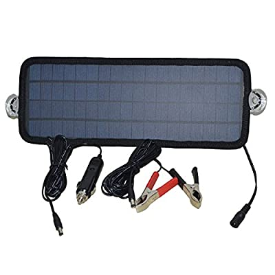 Smileyyi 12V 4.5W Solar Car Battery Charger Sunpower Solar Panel Maintainer Backup for Car Boat RV Tractor Motorcycle and Auto Batteries
