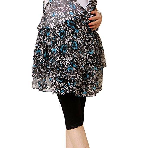 Liang Rou Maternity Ultra Thin Stretch Cropped Leggings Lace Trim Black ()