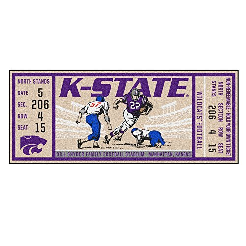 (NCAA Kansas State University Wildcats Ticket Non-Skid Mat Area Rug Runner)