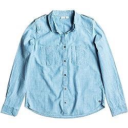 Roxy Womens Camera Obscura Button Up Long Sleeve Shirt Small Light Blue