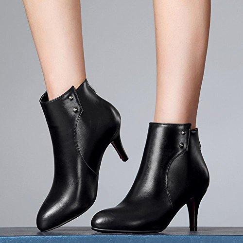 Mee Shoes Damen mit Kurzem Flaum Reißverschluss Trichterabsatz Knöchelstiefel Schwarz