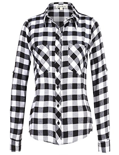 Luna Flower Simple Roll Up Sleeve Plaid Checker Flannel Shirt Tops 094-Black_White US S