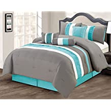 Modern 7 Piece Bedding Aqua Blue / Grey / White Pin Tuck / Ruffle (Double Size) Full Comforter Set with accent pillows