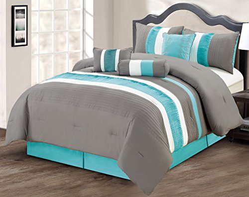 Modern 7 Piece Bedding Aqua Blue / Grey / White Pin Tuck / Ruffle KING Comforter Set with accent pillows