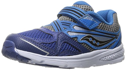[Saucony Boys' Baby Ride Running-Shoes, Silver/Red, 8.5 Medium US Toddler] (Ride Silver Shoes)