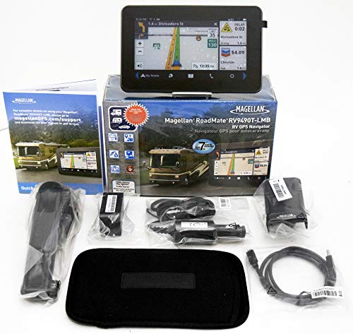 "Magellan RoadMate RV9490T-LMB 7"" High-Clarity RV GPS Navigator with US/CAN/PR Maps and Carrying Case"