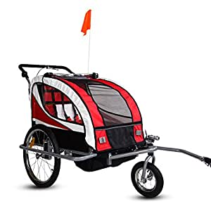 Kinbor New 2 in 1 Bicycle Pet Trailer Stroller for Pet Dog Bike/Baby Jogger Single Stroller Green w/ Suspension (Red)