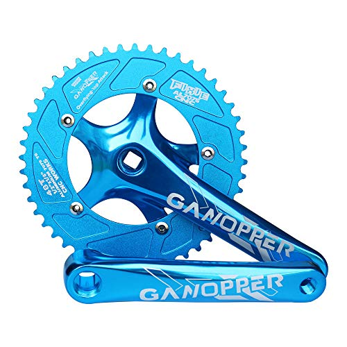 GANOPPER Cycling 48T Chainring Single Speed 1X Road Track Bicycle Crankset 175MM Length 130 PCD Crank Arm (Blue)
