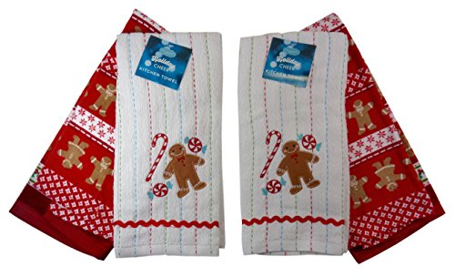 Christmas Gingerbread Man Kitchen Towels, Two Sets of (Gingerbread Towel)