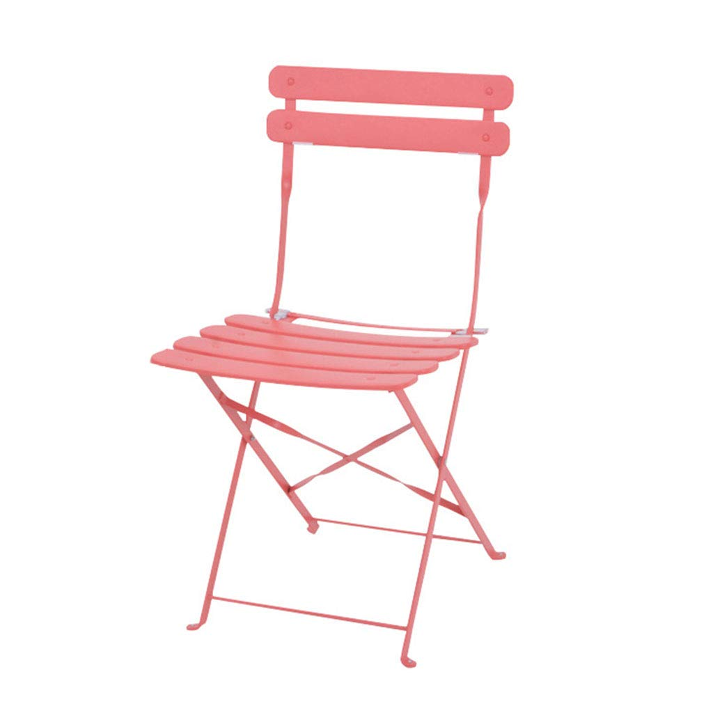 Pink Portable Colourful Folding Chair with backrest   Breakfast Kitchen Bar Stool Furniture High Chair Iron Art - Sitting Height 46cm