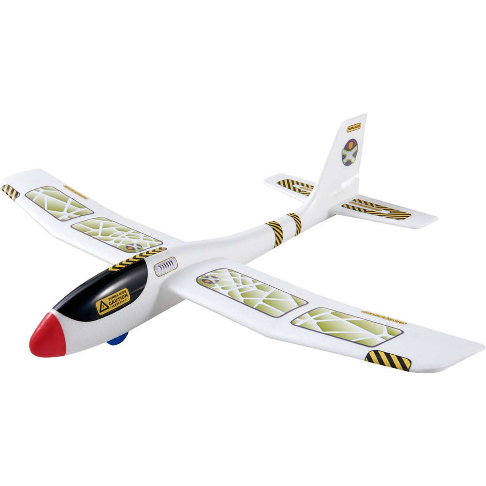HABA Terra Kids Maxi Hand Glider with Boomerang Setting - Easy to Assemble 22'' Sturdy Styrofoam Airplane with Decals