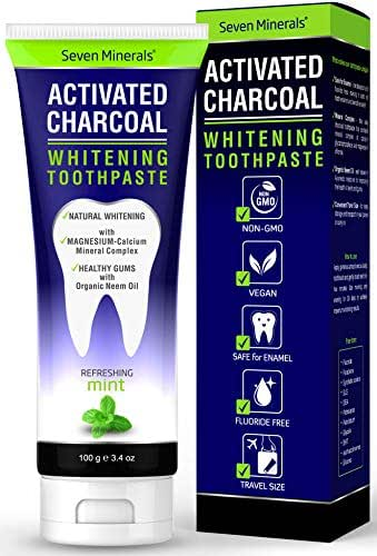 #1 Remineralizing Activated Charcoal Toothpaste - Enamel Safe & Fluoride Free Natural Teeth Whitening with Organic Neem Oil and Mineralizing Calcium & Magnesium Complex - Travel Size (3.4 fl oz)