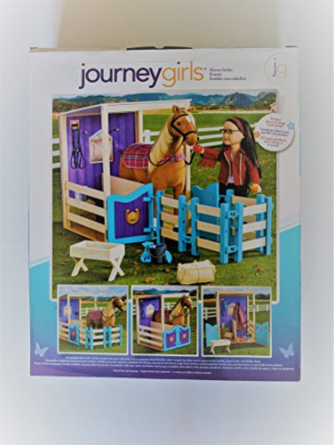 Journey Girls Horse Stable with 2 Stalls, Double Barn Gate with Lock, (Horse NOT Included) 4 Fence Sctions, Horse Blanket, and Water Trough by Journey Girls