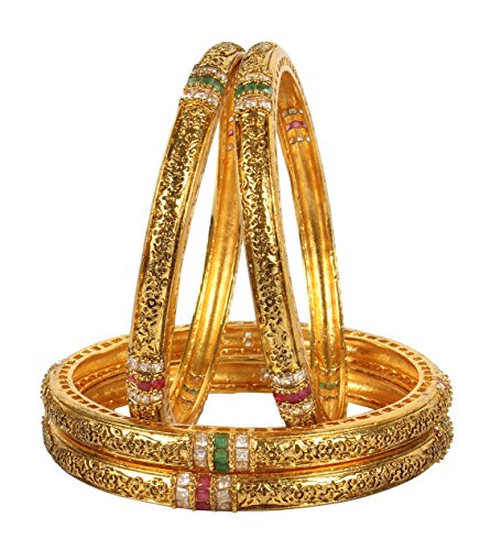 MUCH-MORE Gorgeous Indian Polki Bangles Traditional Partywear Jewelry (353, 2.4)